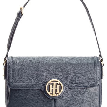 Tommy Hilfiger Maggie Pebble Leather Convertible Small Saddle Bag