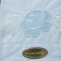 Set of 2 Blue Flower Embroidery Pillowcases; Vintage Cotton 'Decorative Ensemble' Cases; Standard Sized, Unused/NOS; Lightly Flawed