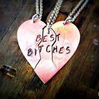 """Friendship Necklace - Best Bitches, Best Friends, Soul Sister """"split"""" necklaces just like the 80s but with a couple current phrases added"""