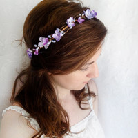 lilac flower hair wreath purple bridal hair by thehoneycomb