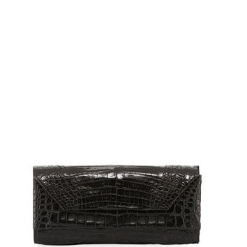 Nancy Gonzalez Patent Crocodile Pull-Through Clutch Bag