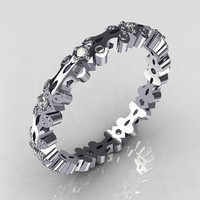 Modern 14K White Gold 10 Round 0.02ct (0.20 ctw) White Diamond Eternity Designer Ring Y244-14KWGDD