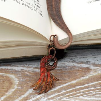 Phoenix Feather Metal Charm Bookmark