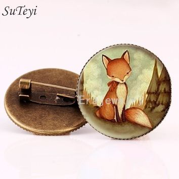 SUTEYI Classic Style Vintage Fox Brooch Pins Jewelry Glass Woodland Creature Watercolor Brooches Animal Art Picture Jewelry