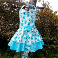 Bib  Apron, Aqua Blue and White, double Layer, Pin-up girl, gift, women's, Flirty
