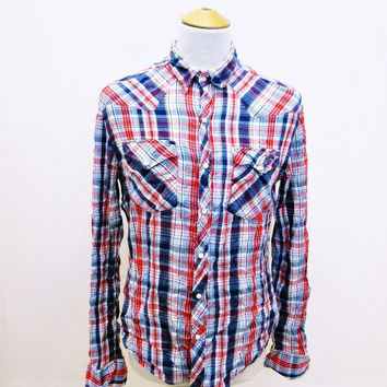 Retro Salt Valley Western Plaid Lumberjack Designer Check Slim Fit Shirt Medium