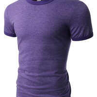 LE3NO PREMIUM Mens Classic Short Sleeve Crew Neck Cotton Ringer T Shirt