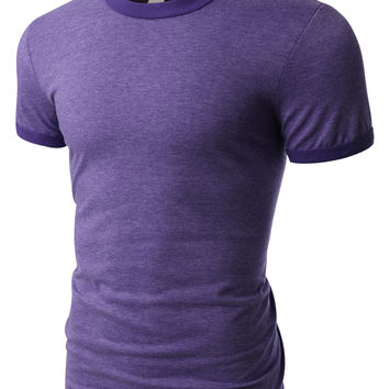 PREMIUM Mens Classic Short Sleeve Crew Neck Cotton Ringer T Shirt