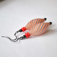 ELongated Striped Earrings, Red, White & Black Earrings, Hollow Blown Glass, Light Weight Earrings,