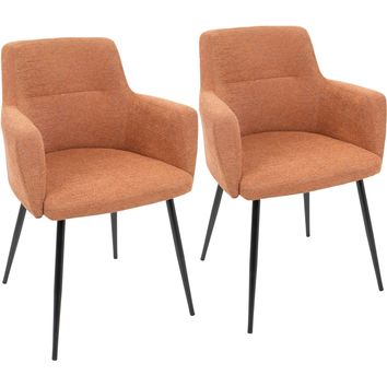 Andrew Contemporary Dining / Accent Chairs, Black & Orange Fabric (Set of 2)