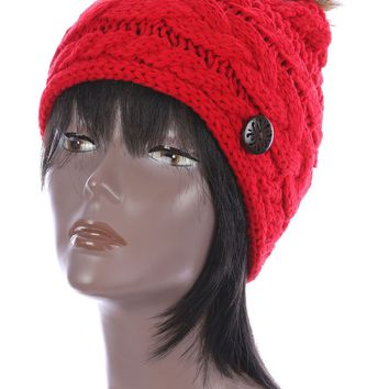Red Faux Fur Pom Pom Cable Knit Winter Beanie Hat And Cap