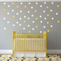 2 inch Gold Polka Dot Wall Decals - Gold Dot Wall Decals - Vinyl Decals - nursery decor - nursery decals - boys room wall decal - girls room decor