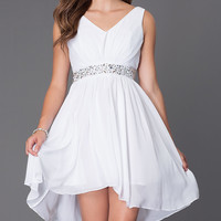 V-Neck Graduation High Low Dress
