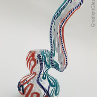 White Red Blue Glass Bubbler
