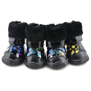 Winter Pet Dogs Puppy Dots Shoes Casual Anti-Slip Snow Boots Clothes Apparel = 1945720004