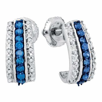 10kt White Gold Women's Round Blue Color Enhanced Diamond Half J Hoop Earrings 1-3 Cttw - FREE Shipping (US/CAN)