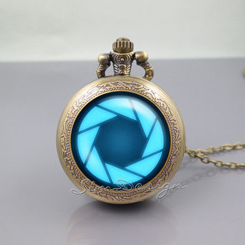 portal valve glados aperture science Pocket Watch Locket Necklace,vintage pendant Pocket Watch Locket Necklace