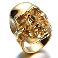 Mens Stainless Steel Ring, Viantage, Biker,gold, skull KR5598