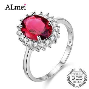 Almei 925 Sterling Silver Peridot Garnet Cirtine Ring for Women Original Stone No Allergy Nickle with Box for Dropshipping