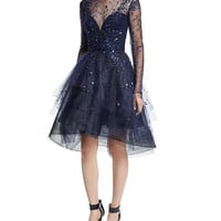 Monique Lhuillier Long-Sleeve Illusion Tiered Dress, Navy