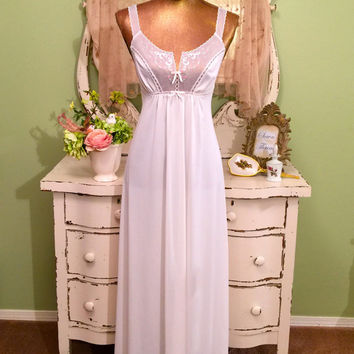 70s White Sheer Nightgown, 1970s Long Nightdress, Vintage Nightie, Embroidered Nightie, Vintage Peignoir, Bridal Wedding Nightwear, Size XS