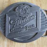 Vintage Miller Genuine Draft Belt Buckle American Legends Foundry