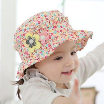 CUPUP9G Newborn Baby Girl Infant Pearl Decor Floral Ruffles Beach Sun Hats Kids Toddler Caps