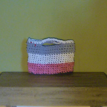 Crochet Tshirt Yarn Bag/Small Tote/Purse