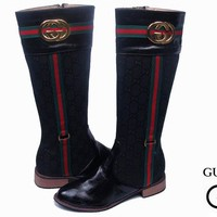 GUCCI Women Fashion Leather High Boot Heels Shoes