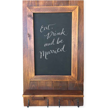 Reclaimed Wood Magnetic Chalkboard and Coat Rack