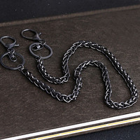 Trouser Belt Chain Key Wallet Safety Holder Long Metal Split Ring Clip Fashion | eBay