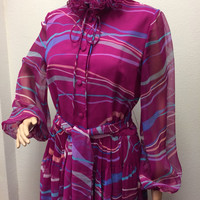 70s Print Dress Secretary L M Grape Pink Vintage 1970s