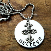 Believe Hand Stamped Necklace with Cross Charm, Cross Necklace, Inspirational Necklace, Gift for Her or Him, Religious Necklace