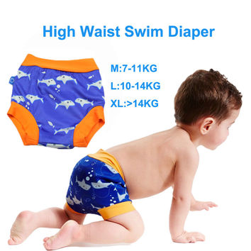 High Waist Baby Swim Diaper for Boys Waterproof Swim Diapers for Swimming Nappies Washable Reusable Baby Trunks for Swimming
