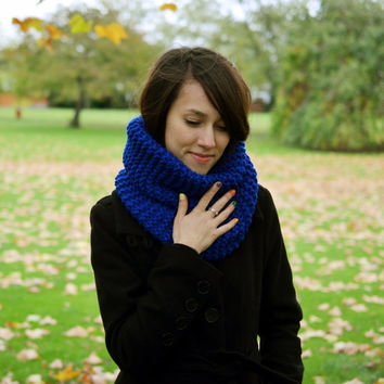 Hand Knit Cowl Scarf, Mens Cowl Scarf, Womens Cowl Scarf, Royal Blue