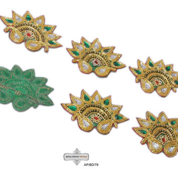 10Pcs Beaded Appliques Green Appliques Sewing Patches Craft Appliqués Indian Wrap Dress Costume Appliqués Bridal Appliqués AP/BD/79 Handmade
