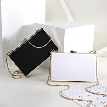 Teridiva Acrylic Transparent Clutch Bag Chain Box Bag Mini Women Messenger Bag Party Day Clutches Purse Wallet Evening Bags