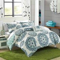 Alaya Boho Reversible Green 8pc Comforter Sheets Bedding Set