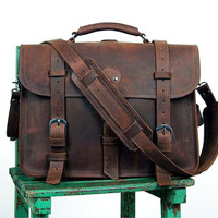 "FREE SHIPPING! Real Thick Cowhide Leather Men's Shoulder Briefcase Fit 17"" Laptop Bag Tote"