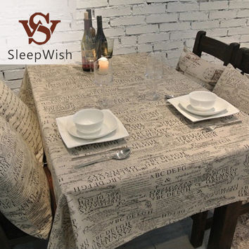 SleepWish Tablecloth Letters Dark European Style Table Cloth Cotton Line Lace Edge Table Cover Rectangular 10 Sizes