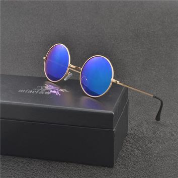MINCL/2017 new Polarized Sunglasses For Men/Women Small Round Alloy Frame Summer Style Unisex Sun Glasses UV400 with box FML