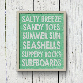 Beach Poster Print, Faded Wood Subway Art, Salty Breeze Sandy Toes Seashell Beach Bathroom Print, Beach Dorm Decor, Printable Beach Wall Art