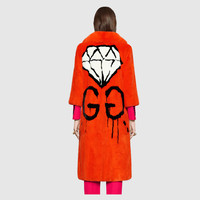 Gucci GG Diamond intarsia mink coat