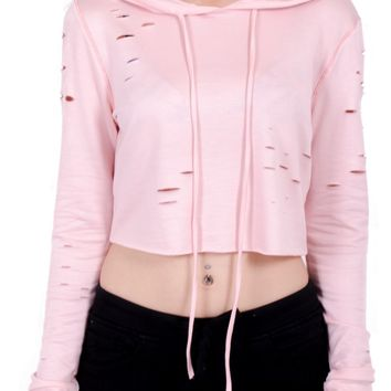 Fiona Distressed Crop Top in Pink