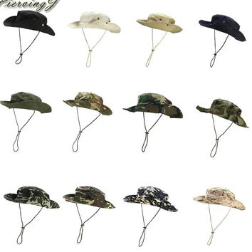 Faleto Foldable Military boonie Hat Safari Hat Sun Protection Hat Camouflage Bucket Hat Wide Brim With Adjustable Strap String