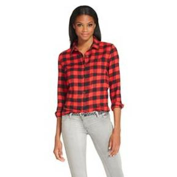 Women's Button Down Flannel Shirt - Red / Black : Target