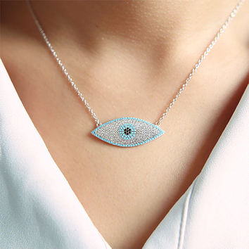 Evil Eye Necklace, HEDIA Eye Blue Necklace Silver Sterling CZ