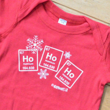 Science Christmas Baby Onesuit | Ho Ho Ho (Holmium) | Chemistry Baby Clothes | Teacher, Scientist, Student, Chemist, Biologist, Baby Science