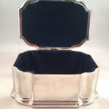 Victorian Silver Plated Jewelry Casket (box) Black Velvet Lined