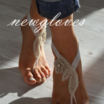 Rhinestone, pearl Beach wedding barefoot sandals